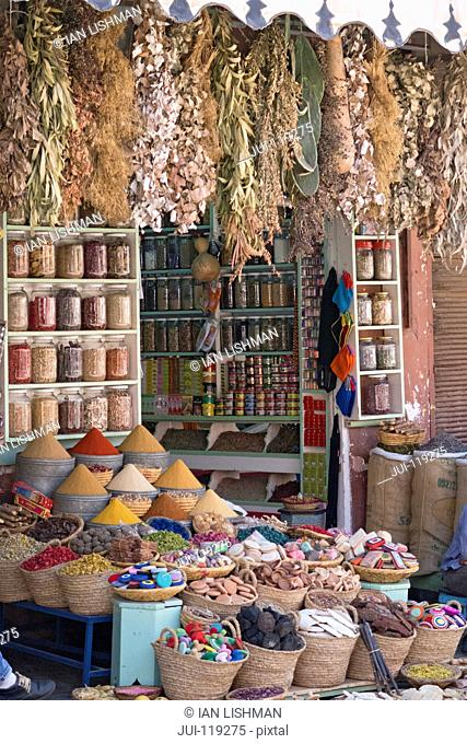 Spice shop and colourful spices on sale in Souk area, Marrakech, Morroco