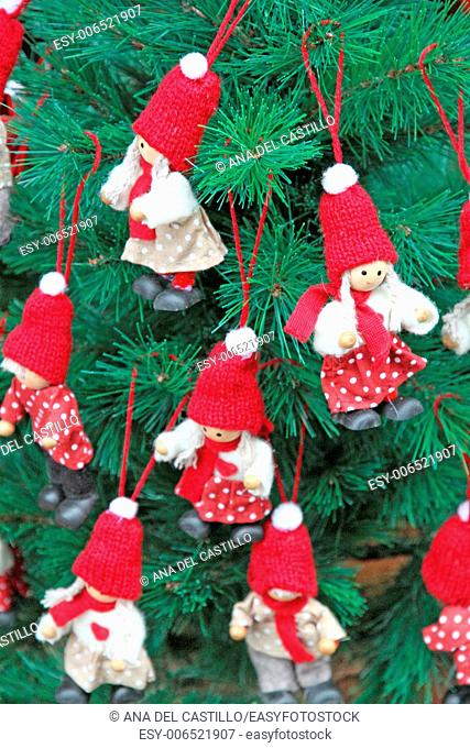 Christmas tree with red ornaments Germany
