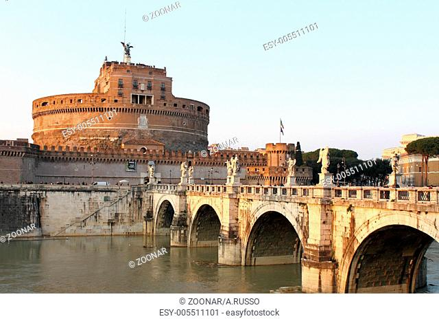 Saint Angel Castle and the Angels bridge in Rome