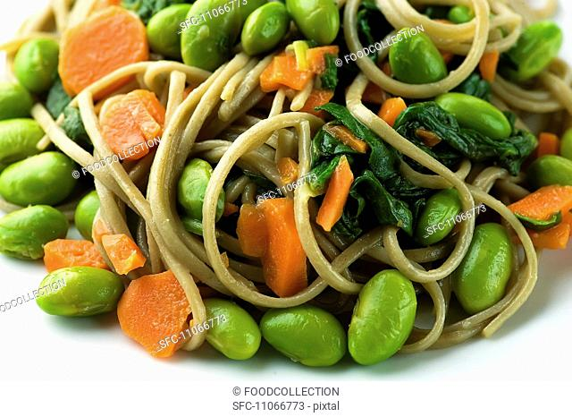 Soba Noodles with Edamame, Carrots and Spinach, Close Up