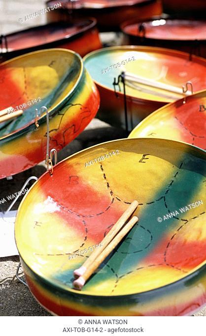 Miniature steel drums in craft market, Store Bay