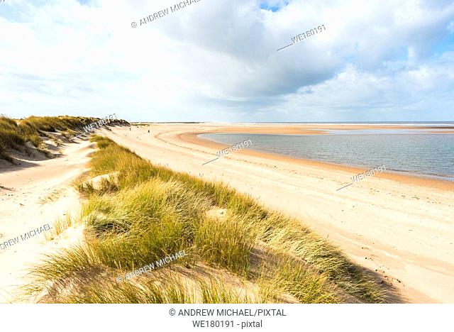 Sand dunes where Norfolk Coast path National Trail from Barnham Overy Staithe reaches the sea, East Anglia, England, UK