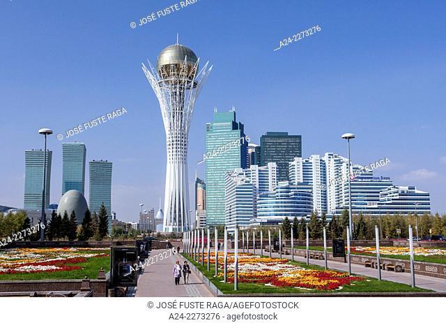 Kazakhstan, Astana City, New City, Nurzhol Bulvar, Bayterek Monument