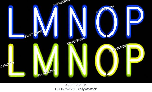 Vector Blue and Yellow Neon alphabet. Gradient Mesh