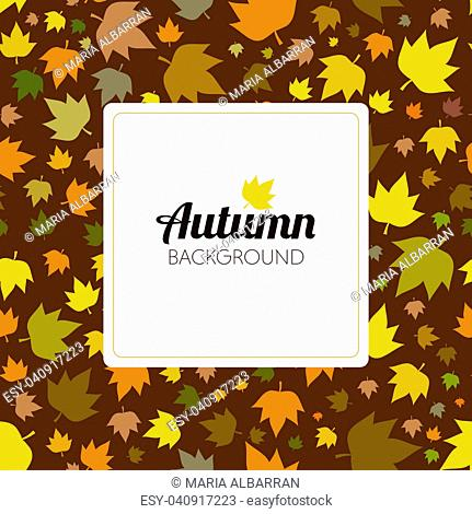 Autumn leaves seamless pattern for new background and text in a frame. Vector illustration