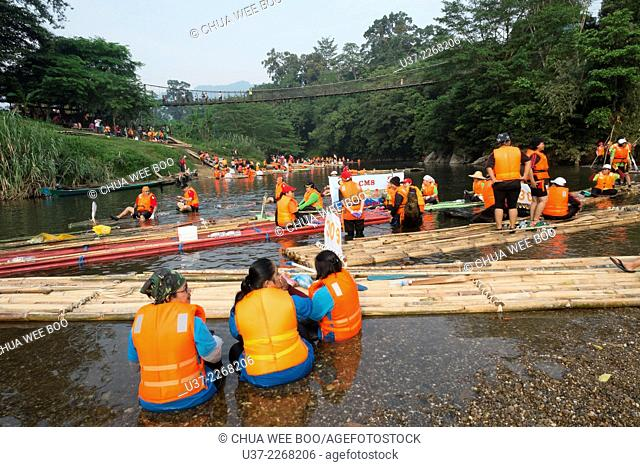 Rafting Safari Competition in action along Padawan River, Sarawak, Malaysia