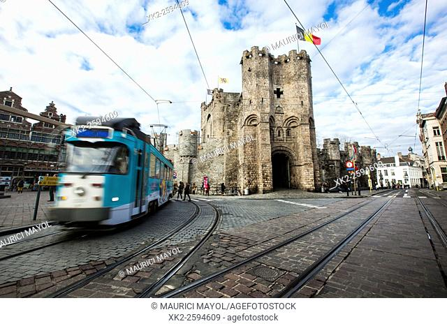 Tram and entrance of Gravensteen, Ghent, Belgium