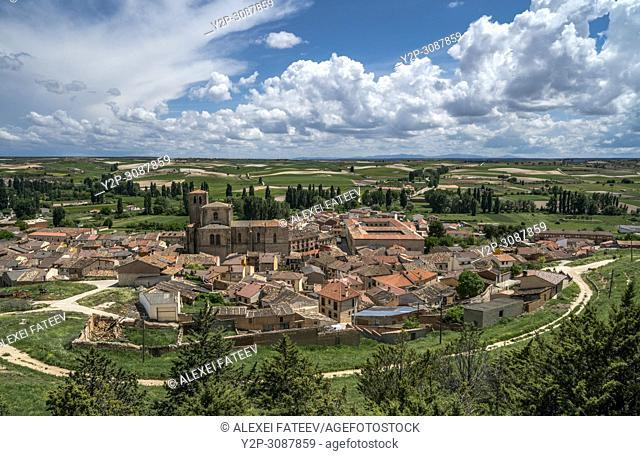 Panoramic view of Peñaranda de Duero, a small village in Castile and Leon, Spain