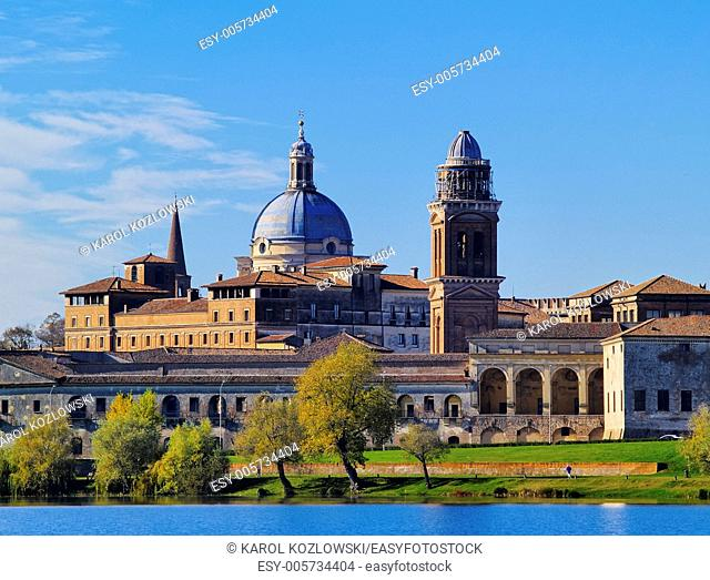 Cityscape with a view of the lake in Mantua, Lombardy, Italy