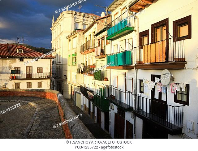 Buildings in the old town at sunrise, Castro Urdiales, Cantabria, Spain
