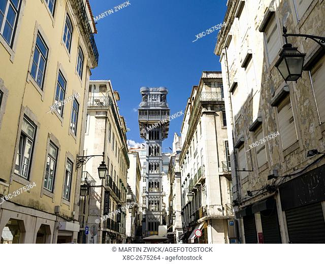 Elevador Santa Justa, an icon in the Baixa. Lisbon (Lisboa) the capital of Portugal. Europe, Southern Europe, Portugal, March