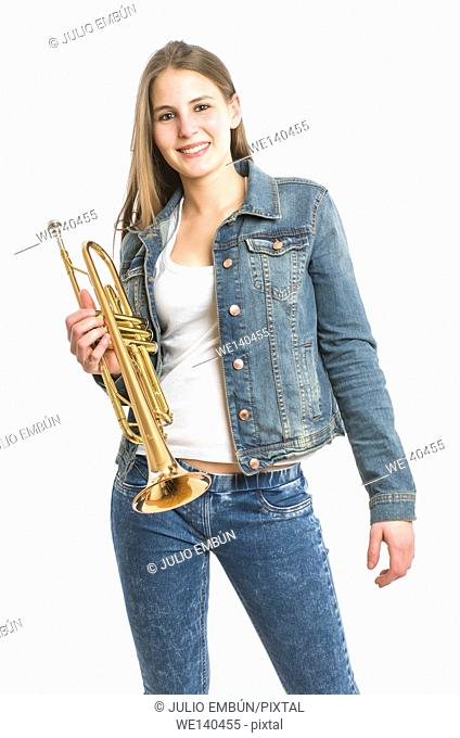 young woman with her trumpet on white background