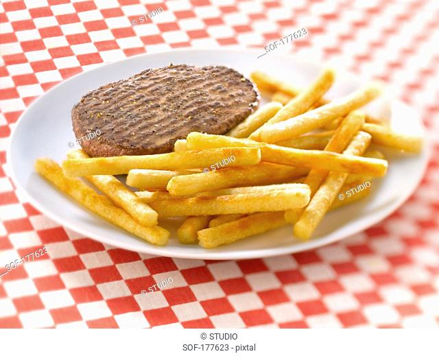 Beef Patty and Fries