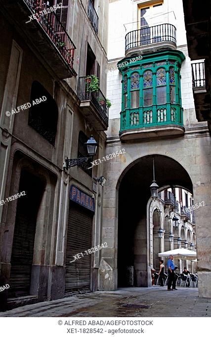 street, gallery, Gothic Quarter, Plaça Reial, Barcelona, Catalonia, Spain