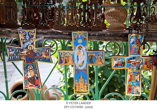 Painted crosses for sale by the Sanahin Monastery; Lori Province, Armenia