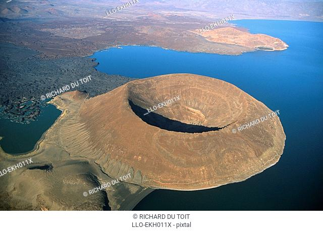 Aerial View of Navbiotum Volcano  Lake Turkana, Kenya