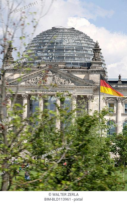 Columned building with glass dome, Berlin, Germany