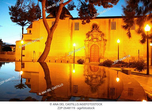 Orihuela historic city in Alicante Spain. The convent by night