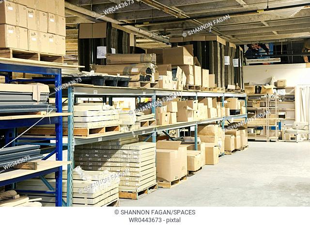 Boxes and Other Materials in Warehouse