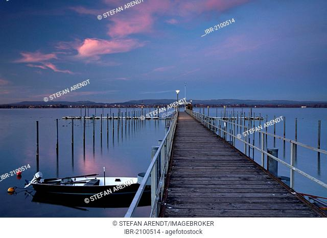 Jetty at Iznang on Lake Constance, sunset, dusk, Baden-Wuerttemberg, Germany, Europe, PublicGround