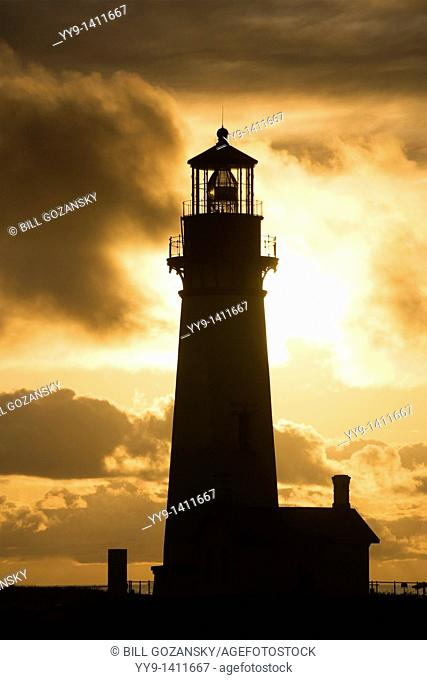 Sunset at Yaquina Head Lighthouse - Yaquina Head Outstanding Natural Area - Newport, Oregon