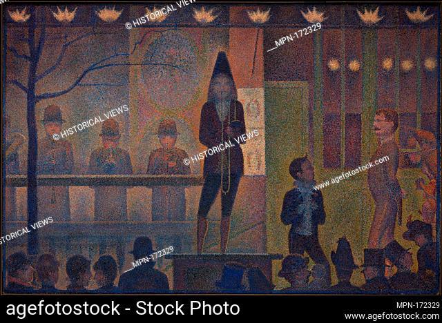 Circus Sideshow (Parade de cirque). Artist: Georges Seurat (French, Paris 1859-1891 Paris); Date: 1887-88; Medium: Oil on canvas; Dimensions: 39 1/4 x 59 in