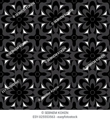 Seamless black and white abstract flower pattern created from circle and ellipses