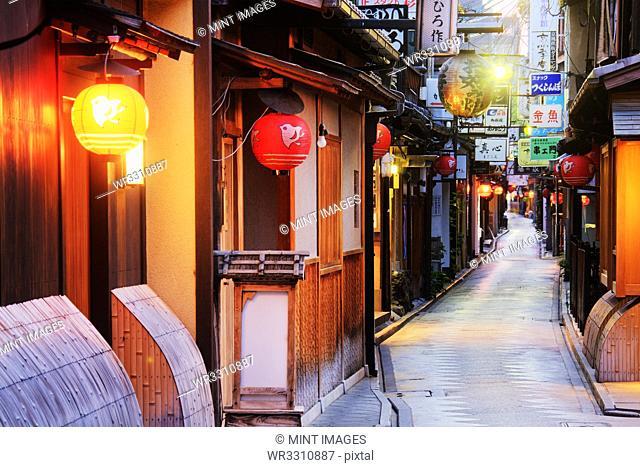 Japanese Businesses on a Pedestrian Street