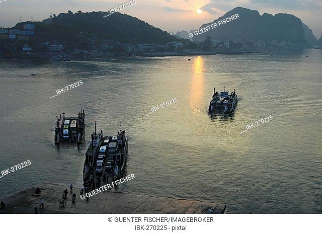 Evening ferryboats from Halong City to Hon Gai district, Halong City, Vietnam