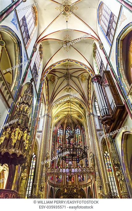Basilica Christ Crucifix Stained Glass De Krijtberg Church Amsterdam Holland Netherlands. Roman Catholic Church built in 1883