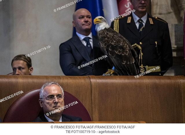 President of S.S. Lazio Claudio Lotito, the eagle Olimpia, mascot of the S.S. Lazio on the Mayor's bench during the prizegiving at Campidoglio Palace, Rome