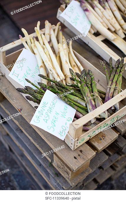 Asparagus in crates at the Torvehallerne market in Copenhagen