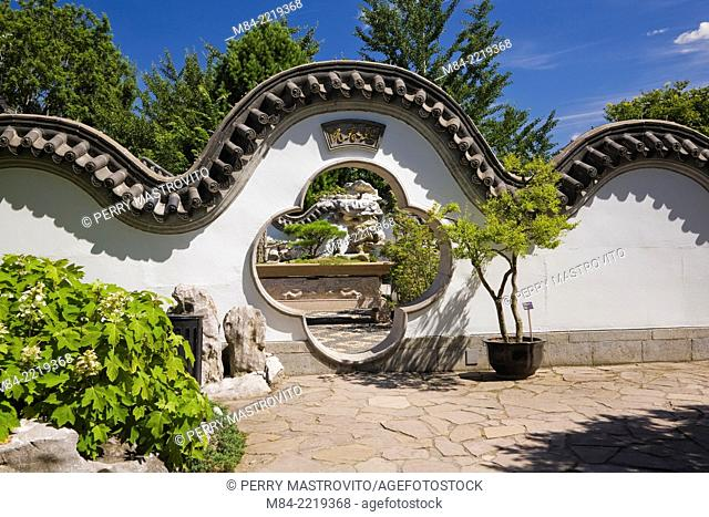 Wall with gate leading to the Springtime Courtyard in the Dream Lake Garden at the Chinese Garden in summer, Montreal Botanical Garden, Montreal, Quebec, Canada
