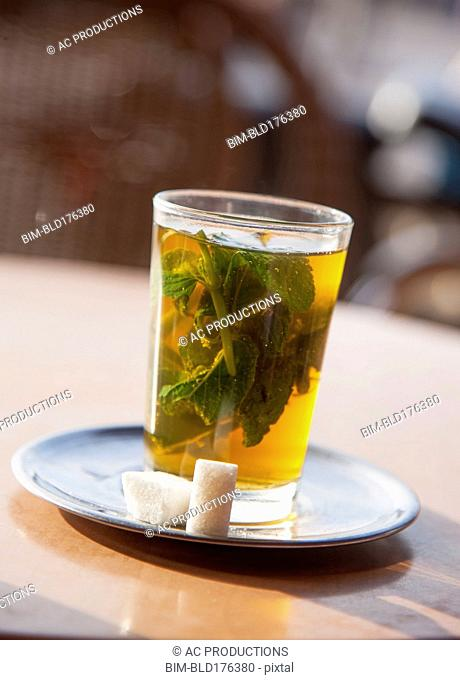 Close up of mint tea