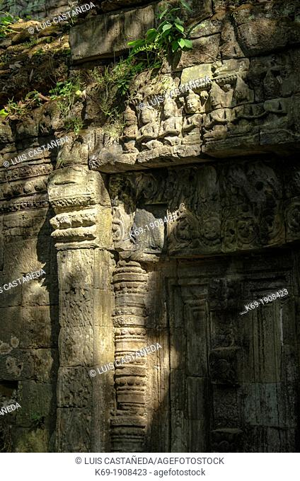 Bas-relief of Building at the Temple-Monastery of Ta Prohm  Angkor  Siem Reap  Cambodia