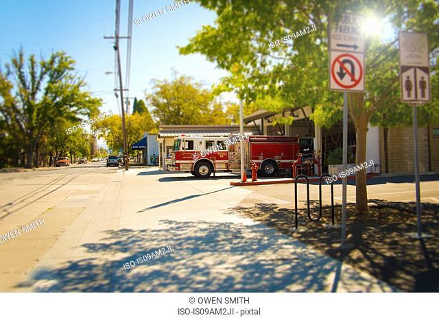 Fire engine leaving fire station, Calistoga, California, USA