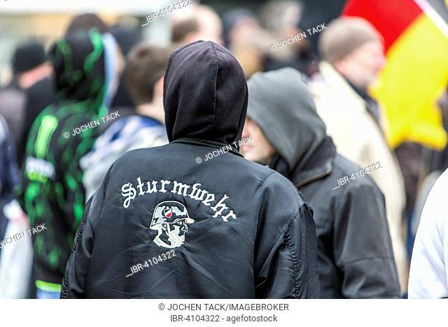 Demonstration sign, PEGIDA, Hogesa, Antifa, hooligans, citizen initiative, Salafists, Wuppertal, North Rhine-Westphalia, Germany