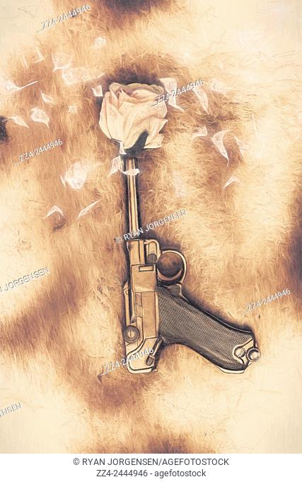 Vintage digital illustration of a pistol capped with a rose bud shooting a petal blast of kindness and hope through the winds of a peacefire treaty