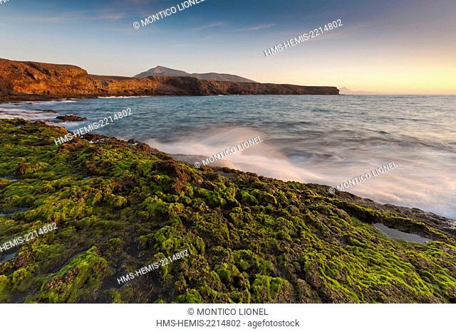 Spain, Canaries Islands, Lanzarote island, Punta del Papagayo and the mount Ajache