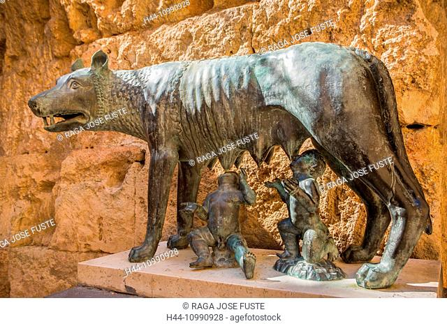 Spain, Catalonia, Tarragona City, Augustus Palace, Rome Symbol, The wolf and Romulus and Remus