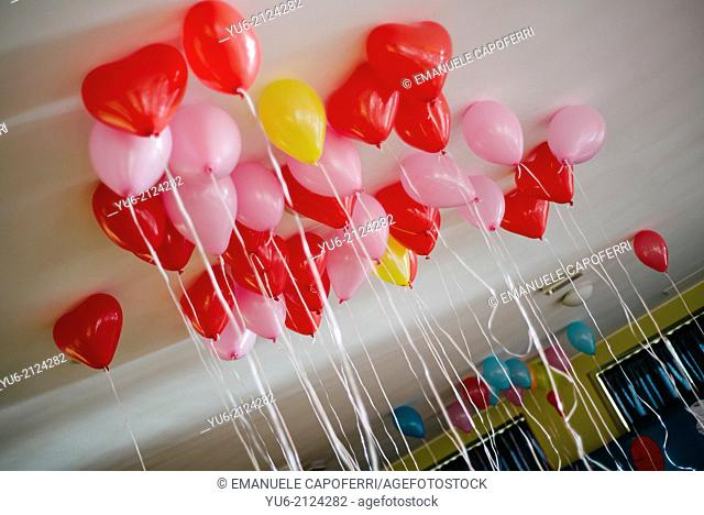 Colorful balloons on the ceiling, birthday party