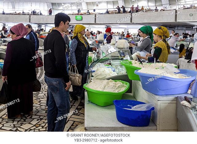 Uzbek People Buying Soft Cheeses In The Chorsu Bazaar, Tashkent, Uzbekistan