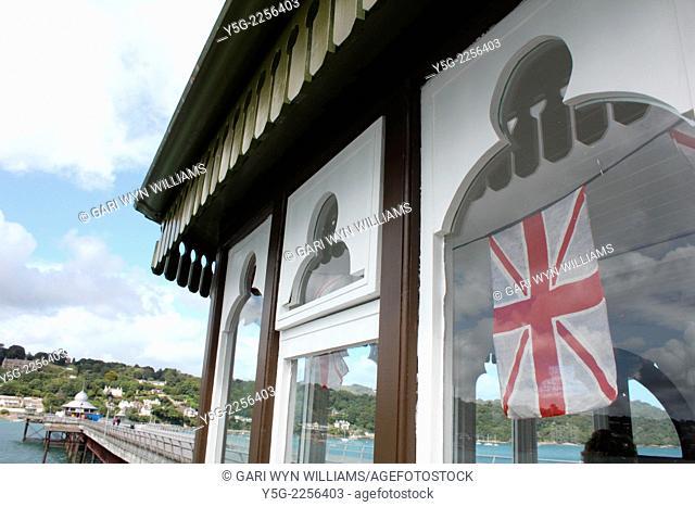 scene on bangor pier in wales great britain uk