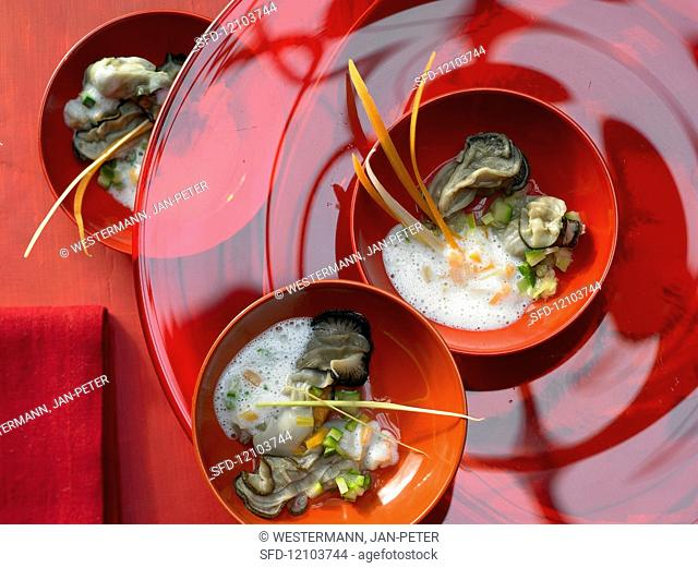 Warm oysters with a vegetable sauce