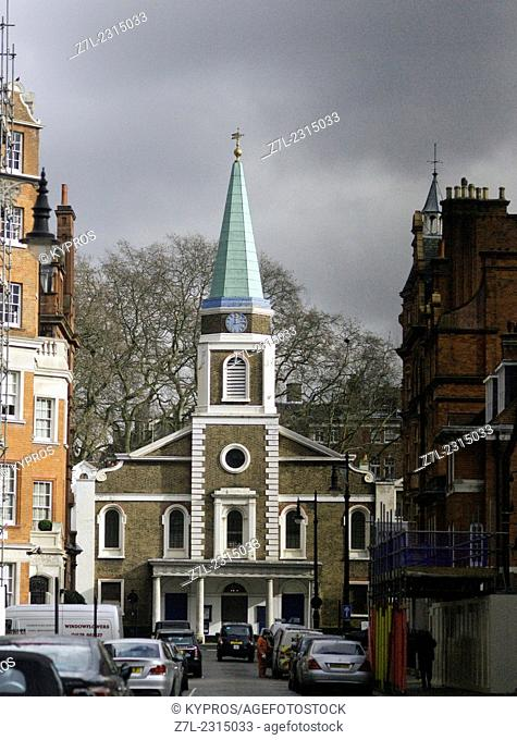 United Kingdom, London, City of Westminster, Mayfair, View of Grosvenor Chapel