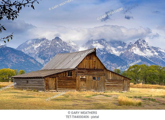 USA, Wyoming, Grand Teton National Park, Moulton Barn, Wooden barn in meadow