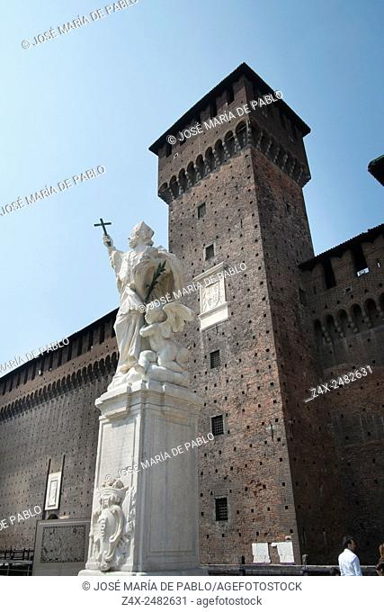Castello Sforzesco, a statue of a saint at the main entrance, Milan, Italy