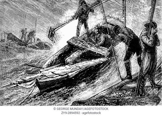 1879: Raking for Oysters in Chesapeake Bay in small skiffs; the tongs ranged between seven and twenty-four feet in length and looked like two garden-rakes with...
