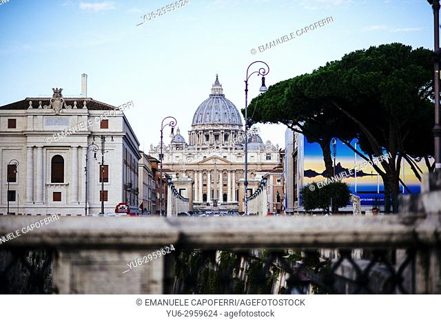 View of St. Peter's Basilica from Vatican from Sant Angelo Bridge, Rome, Italy
