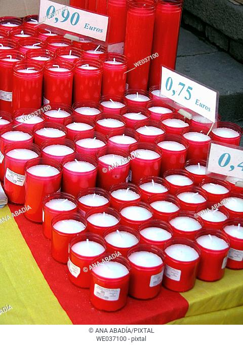 Candles for sale at fair. Fira de Santa Llúcia, Barcelona, Catalonia, Spain